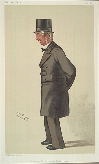 "Frederick Knight (politician) - ""Has sat for three and forty years"". Caricature of Frederick Winn Knight, MP, by Spy published in Vanity Fair, 1884"