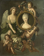 Portrait of Wilhelmina of Prussia in a medallion with allusions to her marriage to Prince William V on 4 October 1767 in Berlin (Frederika Sophia Wilhelmina)