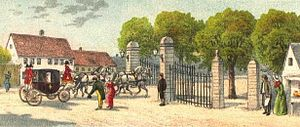 Frederiksberg Allé - A royal at the Iron Gate, c. 1800