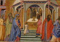 Fredi, Bartolo di - 'Presentation of Mary in the Temple, ca. 1360, Tempra & Gilding on wood, 29 x 43 cm.jpg