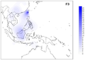 Frequency distribution maps for mtDNA haplogroup F3.png