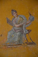 Fresco fragment depicting Urania, Muse of astronomy, from the House of Julia Felix in Pompeii, 62-79 AD, Empire of colour. From Pompeii to Southern Gaul, Musée Saint-Raymond Toulouse (16092353008).jpg
