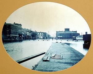 History of Davenport, Iowa - Front Street during high water (1888)
