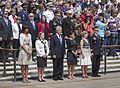 Front row, from left, first lady Michelle Obama; Brenda Linnington, the wife of U.S. Army Maj. Gen. Michael S. Linnington, the commanding general of the Military District of Washington; Secretary of Defense 130527-D-HU462-122.jpg