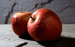 An apple, cultivar 'fuji'.