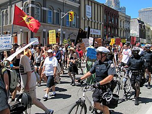 2010 G20 Toronto summit protests - An early demonstration on Yonge Street on June 24 demanding respect of First Nations treaty rights