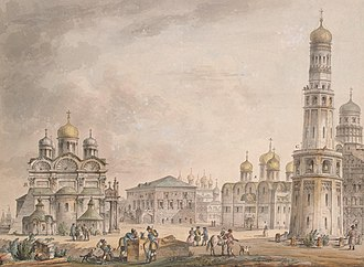 Cathedral Square, Moscow - Cathedral Square in Moscow, a veduta by Quarenghi, 1797.