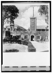 GENERAL VIEW OF SOUTH WALL FROM THE SOUTH, SHOWING CLOCK TOWER AND BELFRY - Frederiksfort, King Street vicinity, Frederiksted, St. Croix, VI HABS VI,1-FRED,3-15.tif