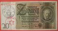 GERMANY 1929, OBSOLETE 20 REICHSMARK PAPER BILL USED WITH TWO INK STAMPS FOR USE IN A JEWISH GHETTO OR CONCENTRATION CAMP side A - Flickr - woody1778a.jpg