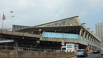 George Washington Bridge Bus Station - The station seen from the western approach in 2006