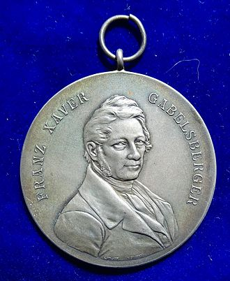 Franz Xaver Gabelsberger - Gabelsberger Shorthand Silver Award Medal of the Hanover Stenographen-Verein of 1863, obverse.