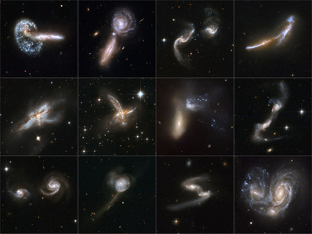 Galaxy collisions take place over millions of years.