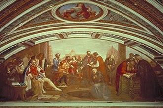 Tribune of Galileo - Image: Galileo dimostra la legge della caduta dei gravi a Don Giovanni de' Medici, affresco di Giuseppe Bezzuoli, Tribuna di Galileo, Firenze