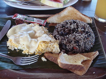 Costa Rican breakfast with gallo pinto Gallo Pinto at breakfast.jpg