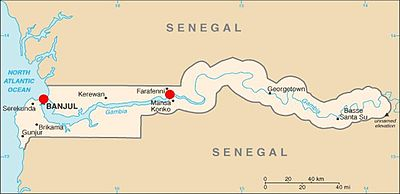 A map of The Gambia indicating the locations in the west and center where travellers may cross in order to arrive at Carabane