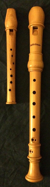 "Garklein recorder - A one-piece garklein recorder in plum wood, next to a three-piece soprano recorder in castello or zapatero ""boxwood"" for comparison."