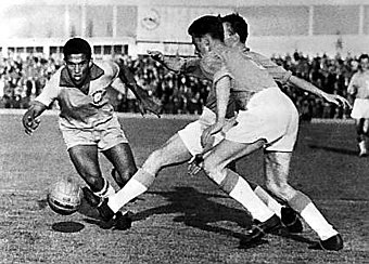 Garrincha (left), Brazilian winger and 1962 World Cup star, is regarded as one of the greatest dribblers of all time. Garrincha 1962.jpg