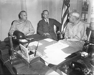 Wilhelm D. Styer - Styer (left) with Secretary of War Robert P. Patterson and U. S. High Commissioner to the Philippines Paul V. McNutt in McNutt's office in Manila in 1946.