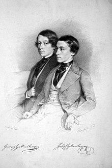 Die Brüder Georg und Joseph Hellmesberger. Lithographie von August Prinzhofer, 1845 (Quelle: Wikimedia)