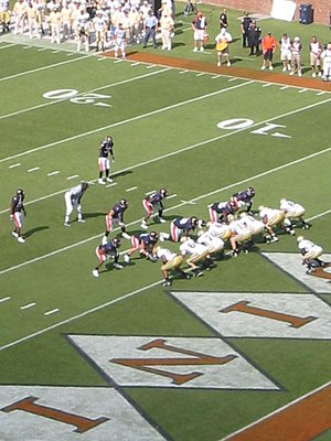 2007 Virginia Cavaliers football team - Georgia Tech lines up in their own endzone