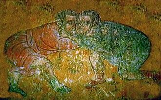 Sport in Georgia - Ancient Georgian iconic art depicting wrestling.