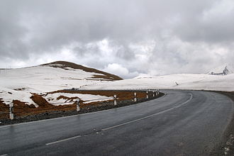 Georgian Military Road - The highest part of Georgian Military Road at the Jvari (Krestovy) Pass. The photo is taken in the month of May