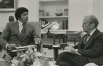 William Morris Agency - President Gerald Ford (right) meets in the Oval Office with a representative of the William Morris Agency to discuss advertising for his 1976 campaign