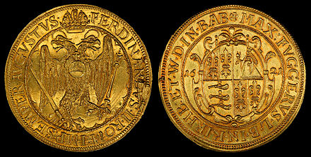 10 Ducats (1621), minted as circulating currency by the Fugger Family. German States Fugger 1621 10 Ducats.jpg