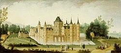 Claes Jacobsz van der Heck: Gezicht op het kasteel te Egmond aan den Hoef