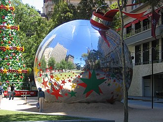 Christmas in Australia and New Zealand - Giant Christmas bulb sculpture in Melbourne, Australia