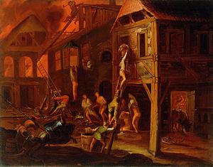 Gillis van Valckenborch - Fire in a Village