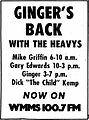 Ginger's Back - 1971 WMMS print ad.jpg