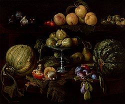 Giovanni Battista Crescenzi: Figs on a Tazza with Pears, Quinces, Melons, Plums, Mushrooms on a Table, with Figs, Cherries, Peaches, and Acorns on a Ledge Above