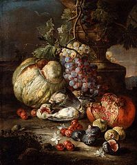 Still Life with Fruit and Dead Birds in a Landscape