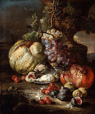 Giovan Battista Ruoppolo - Image: Giovanni Battista Ruoppolo Still Life with Fruit and Dead Birds in a Landscape WGA20535