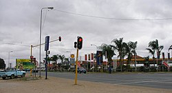 A traffic junction and shopping centre in central Giyani