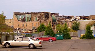 2011 Goderich, Ontario tornado - Severely damaged, historic brick buildings in downtown Goderich