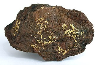 Bouse, Arizona - Gold on hematite from the old Dutchman Mine near Bouse