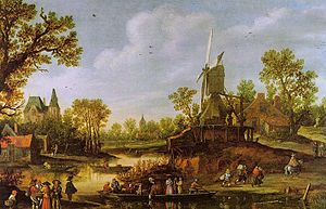 Marlborough Fine Art - River Landscape with a Ferry (1625) by Jan van Goyen, sold by Marlborough Fine Art in 1954.