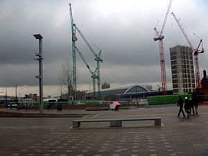 Granary Square - View from Granary Square of ongoing development in King's Cross Central.