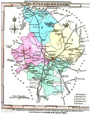 Huntingdonshire - Map of Huntingdonshire, 1824