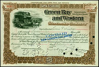 Green Bay and Western Railroad - Share of the Green Bay and Western Railroad Company, issued 10. February 1920