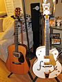 Gretsch White Falcon & acoustic guitar (2014-08-29 17.51.30 by sbaimo).jpg