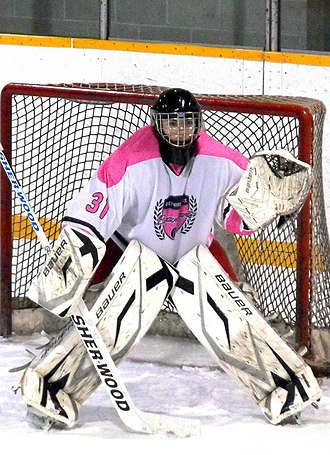 Wiarton Rock - Bravehearts goalie on Breast Cancer Awareness night during 2014–15 season.