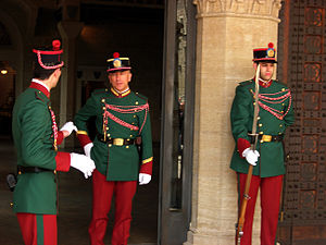 Military of San Marino - Three members of the Guard of the Rock - this is the number 2 uniform (informal ceremonial). An officer is in the centre.
