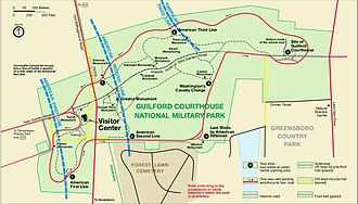 Guilford Courthouse National Military Park - Contrasting National Park Service maps reflect the changing official historiography of the battle. This 1998 map still adheres to the interpretation based on Schenck.
