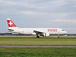 HB-IJH Swiss Airbus A320-214 landing at Schiphol (EHAM-AMS) runway 18R pic2.JPG