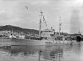 HMNZS Endeavour, the Antarctic expedition ship, Wellington Harbour, 1956 (front side view).jpg