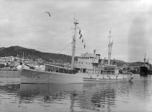 HMNZS Endeavour, the Antarctic expedition ship, Wellington Harbour, 1956 (front side view).jpg