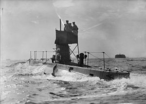 HMS B6 in the solent viewed from behind